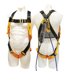 Harness with Front & Rear Fall Arrest Attachment Points - 2MTR Wire Lanyard