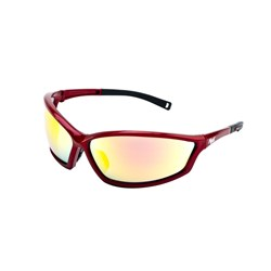 Mack Safety Speck - Stealth - Shiny Red Nylon Frame - Red Revo Mirror Lens