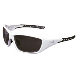Mack Flyer Safety Spec smoke polarised lens, White frame.MOQ 12 Pairs