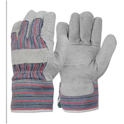 Candy Stripe Leather Work Gloves with Patch Palm (Pack of 12)