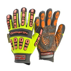 Glove - Contego HiVis Work Gloves Mechanics IP+ With Impact Protection