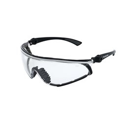 Mack Safety Spec-Pilbara Black nylon frame.Clear mirror lens. Dust guard.MOQ 12 Pairs
