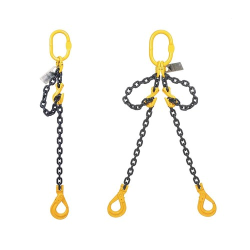 4 Leg Lifting Chain 2m with Shortening Grab Hooks and Clevis self-Locking Hook 10mm