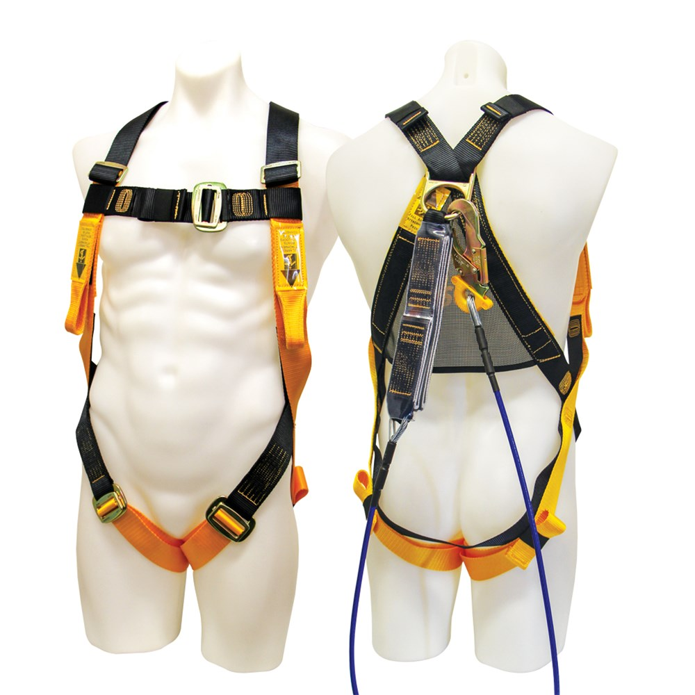 b safe harness fitted with wire rope lanyard. Black Bedroom Furniture Sets. Home Design Ideas