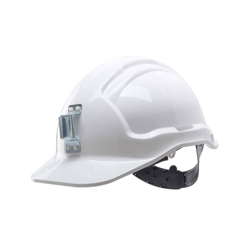 Frontier Vented Hard Hat With Lamp Bracket White